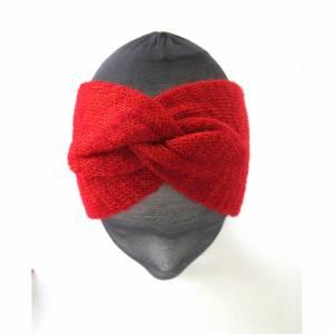 Rotes gestricktes Stirnband für Frauen, Winter-Stirnband mit Verknotung, Twist-Verknotung, Ohrenwärmer aus Wolle