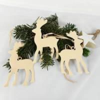 Weihnachtsdeko 3er Set, Hirsch, Hänger, vanille, Fensterdeko Weihnachten, Deko für Weihnachten, Material Bild 1