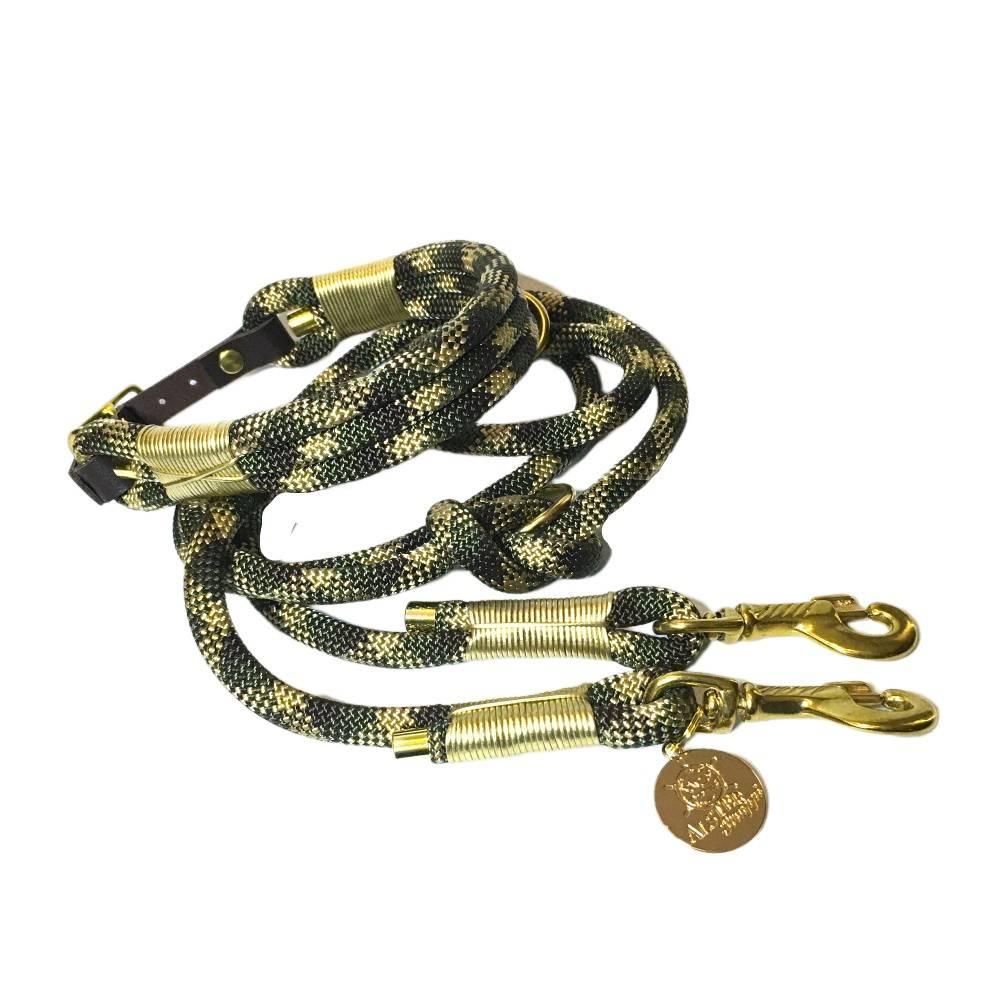 Leine Halsband Set verstellbar braun, oliv, beige, gold,, mit Leder und Schnalle  Bild 1