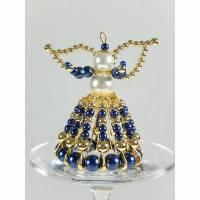 Schutzengel Perlenengel aus Sicherheitsnadeln blau-goldfarben Engel Glücksbringer Deko Geschenk  Bild 1
