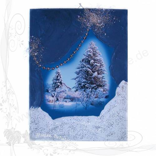 Handgemachtes Winterbild auf Holz * Zwei Tannen im Allgäu 03*, keine Versandkosten