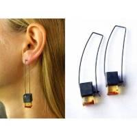 Ohrringe, bernsteinohrringe, Geschenk, oxided Sterling Silber 925, modernes Design, Geschenk für sie, Geschenkbox, neu,