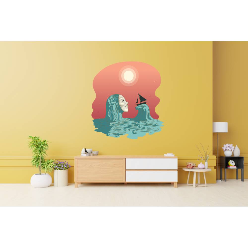 Top Wandtattoo  Sea Woman für das Wohnzimmer oder sonstige Räume konturgeschnitten in 11 Größen ab 25 cm B x 30 cm H Bild 1