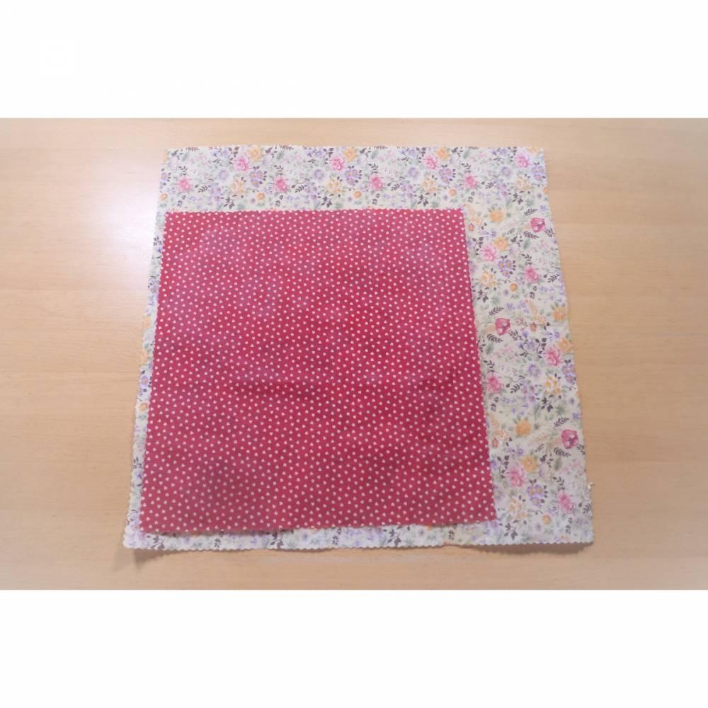 Bienenwachstücher, Doppelpack, Blumen, rot mit Herzen, reines Bienenwachs, Bio-Baumwolle, 2 Größen, handgemacht von Died Bild 1