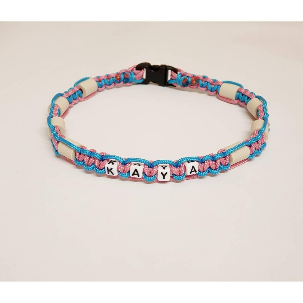 EM-Keramik Halsband aus Paracord mit Namen des Hundes, wahlweise Klickverschluss oder Kordelstopper Bild 1