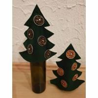 2er Set * Weihnachtsbaum aus Filz * Upcycling aus Kaffeekapseln * tannengrün * Geschenkverpackung Bild 1