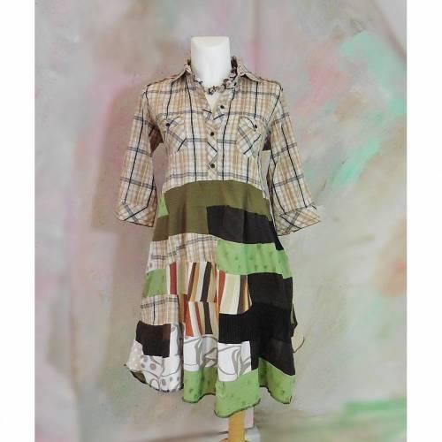Kleid 48 50 Tunika Handmade Upcycling Unikat Karo Lagenlook Übergröße Plus Size Hemdblusenkleid Baumwolle
