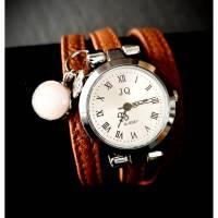 Armbanduhr,Wickeluhr, Damenuhr, Kunstleder,  Uhr, Rosenquarzanhänger Bild 1