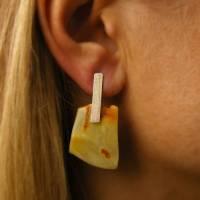 Ohrringe, echte Bernstein Ohrringe, Ohrstecker, gelb, orange, modern, für sie, Geschenkbox, Sterling Silber 925, junge M Bild 1