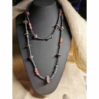 Halskette in Holz-Optik, schwarz-weinrot, Vintage-Stil, Hippi,  (HK21) Bild 1