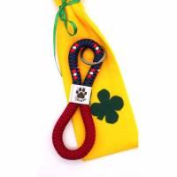 Schlüsselanhänger aus Segelseil I love my dog weinrot/mix - in Geschenkverpackung Bild 1