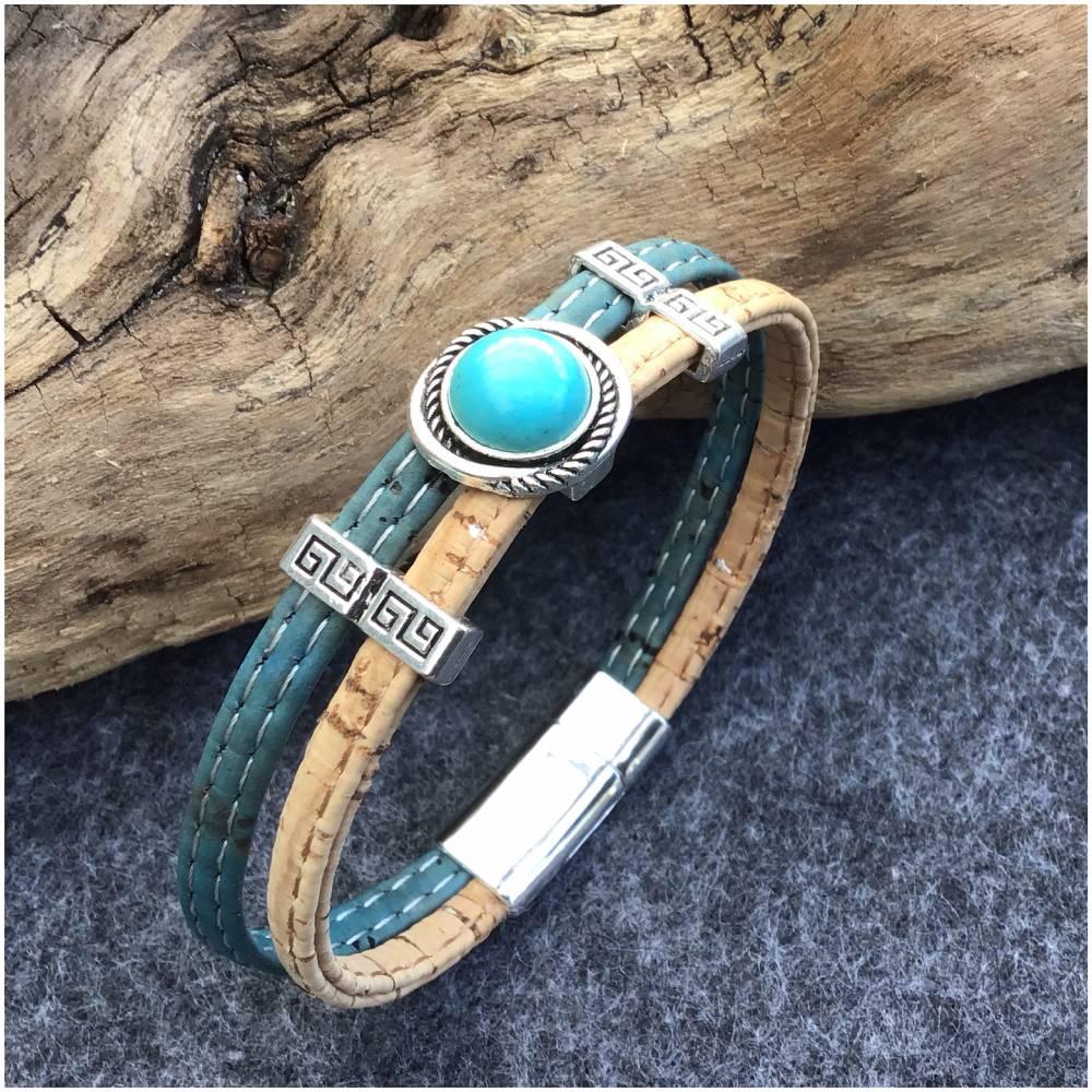 Armband aus Kork mit Schiebeperle Bild 1