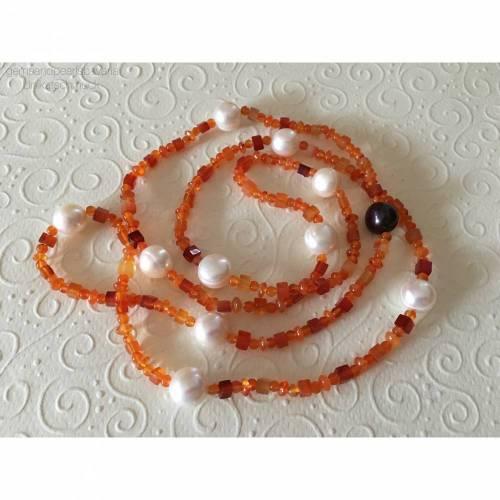 Lange Karneolkette mit Perlen, Edelstein Karneol, Zuchtperlen, Edelsteinkette, endlos, Geschenk für Frauen, Handarbeit a