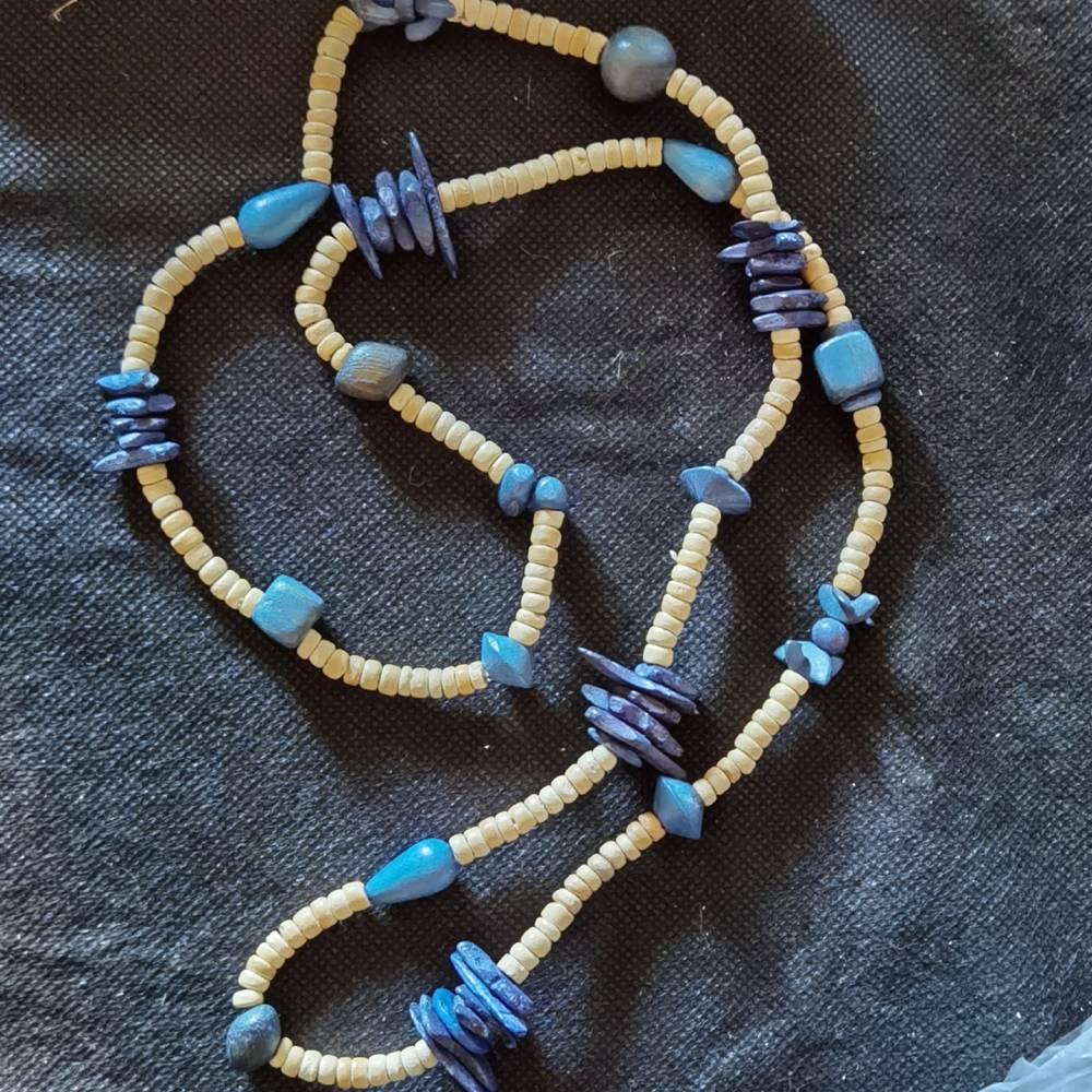 Halskette in Holz-Optik, naturfarbend mit blauen Scheiben- Elementen, Vintage-Stil, Hippi,  (HK17) Bild 1