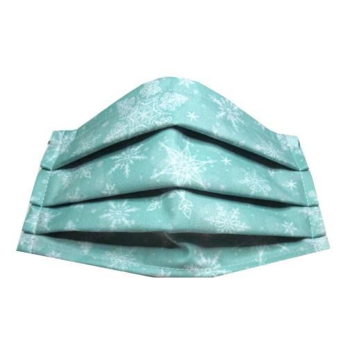 Behelfsmaske Gr. M *Schneesterne* Mundschutz Baumwollstoff mit Nasenbügel waschbar 60° Weihnachtsmaske