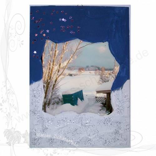 Handgemachtes 3D-Winterbild auf Holz *Anhänger im Schnee 02*, keine Versandkosten