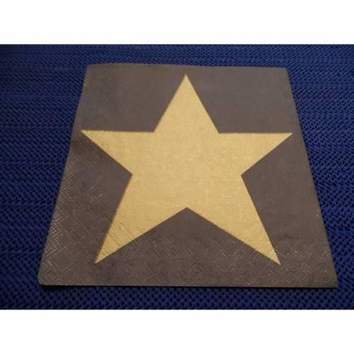 5 Servietten / Motivservietten  Stern gold auf schwarz W 336