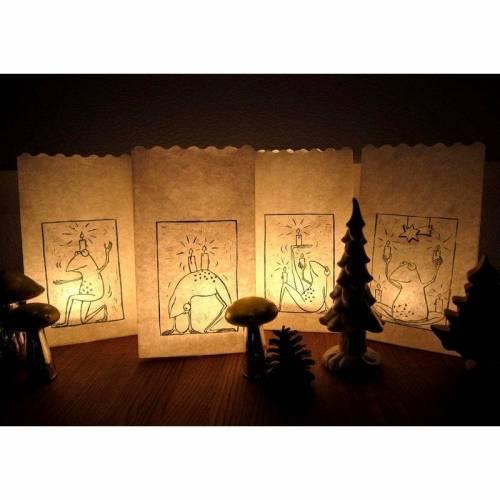 Tütenadvent - 4 Lichtertüten mit Froschdruck, Tütenlichter, Tüten Teelicht, Adventkranz, Adventskalender, Lichtertüten, Advent, Weihnachten