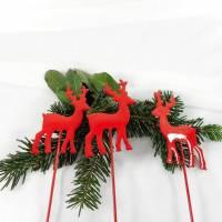 Weihnachtsdeko 3er Set, Hirsch, Stecker, Blumenstecker, rot,  Deko für Weihnachten, Material Bild 1