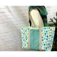 xxl-große Einkaufstasche, modischer Shopper - Einkaufstasche zum Wenden aus Baumwollstoffe zum Waschen in petrol-türkis- Bild 1