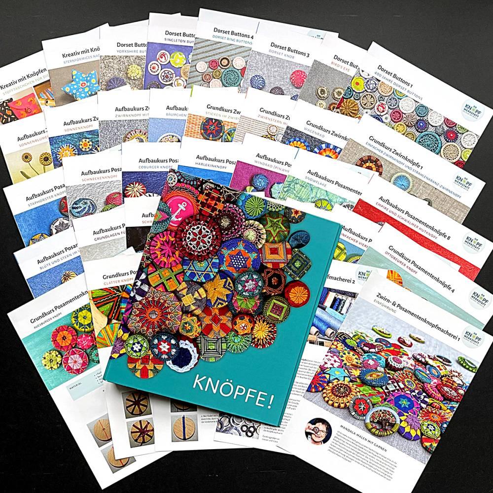Komplettpaket Knopfmacherei: Anleitungen für Zwirn- und Posamentenknopfmacherei mit Sammelordner Bild 1