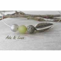 Polarisperlenkette Halsreif versilbert  Metallperle Olive Collier Perlen khaki perlmutt schiefer Geschenk Polariskette