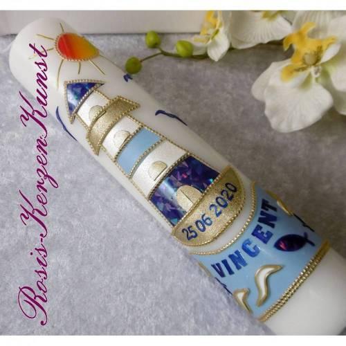 """Moderne TAUFKERZE """" Vincent """" mit Leuchtturm-Symbol * Blau * Buben * Taufe * Kommunion * Geschenk *"""
