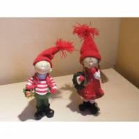 Winterkinder,Weihnachtsfiguren Mädchen und Junge mit Geschenken zum basteln Dekorieren Bild 1
