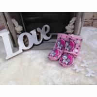 Babyschuhe / Booties  für Frühchen Rosa /Einhorn Bild 1