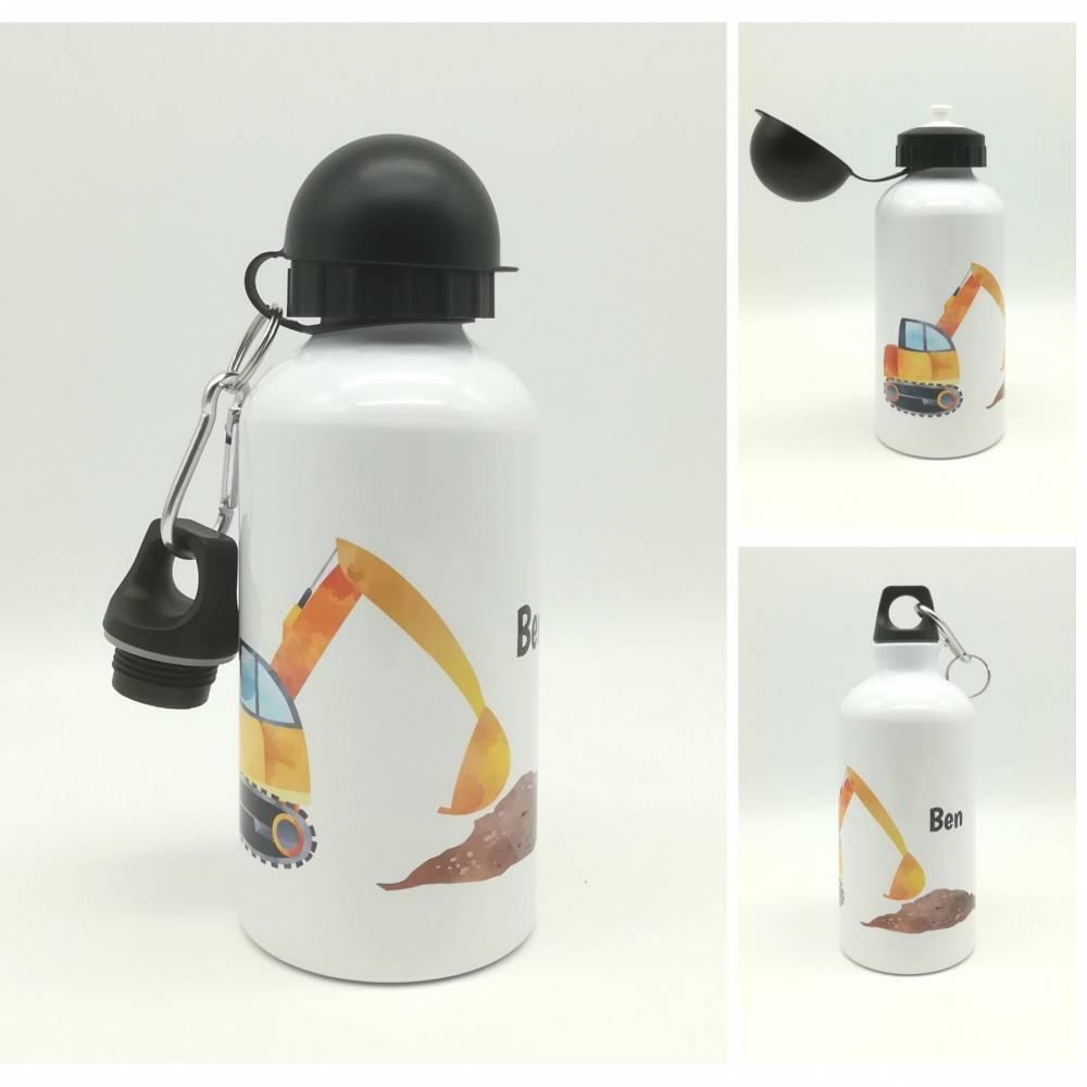 """Trinkflasche mit Namen """"Bagger""""/ individuell/ Flasche/ Kindertrinkflasche Bild 1"""