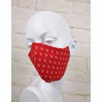 Mundmaske Staubmaske Gesichtsmaske Maritim Mini Anker Rot Weiß Uni Maske Baumwolle Behelfsmaske Wendemaske Bild 1