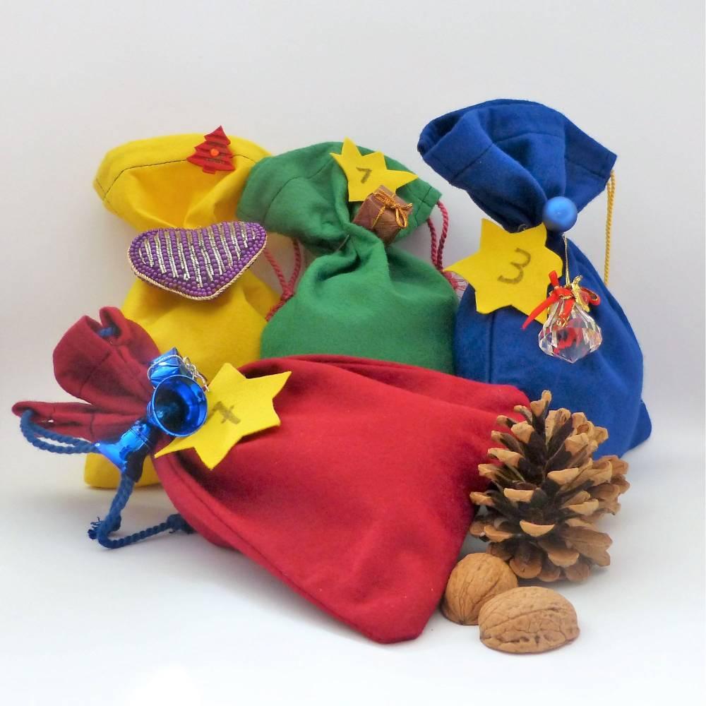Adventskalender Wolle in Filzsäckchen, gefüllter Adventskalender mit Wollknäuel, Stricken, Häkeln, 24 Knäuel Wolle Bild 1