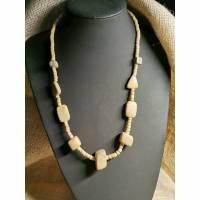 Halskette in Holz-Optik, naturfarbend mit Knopfverschluss, Vintage-Stil, Hippi,  (HK19) Bild 1