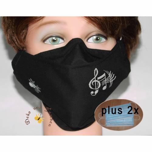 Mund-Nasen-Masken klassisch schwarz Stickerei Musiknoten waschbare Alltagsmasken Behelfsmasken Damen Herren Kinder