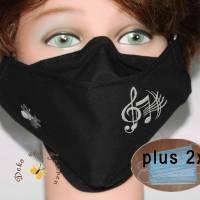 Mund-Nasen-Masken klassisch schwarz Stickerei Musiknoten waschbare Alltagsmasken Behelfsmasken Damen Herren Kinder Bild 1