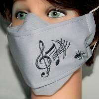 Mund-Nasen-Masken klassisch schwarz Stickerei Musiknoten waschbare Alltagsmasken Behelfsmasken Damen Herren Kinder Bild 2