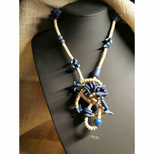 Halskette in Holz-Optik, naturfarbend mit blauen Elementen, Vintage-Stil, Hippi,  (HK16)