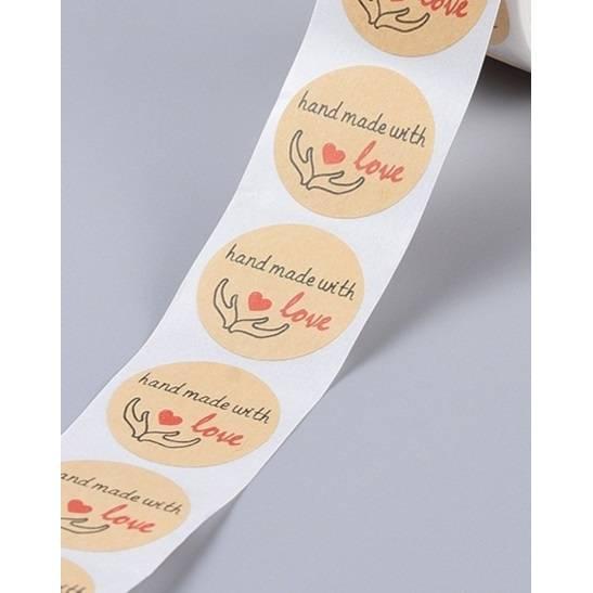 selbstklebende Etiketten, handmade with love, Aufkleber, 25mm Bild 1