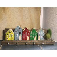 Schlüsselbrett, Hakenleiste, Handtuchhalter, Häuser, Altholz, bunt Bild 1