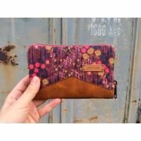 Geldbörse Little Mynta – Portemonnaie mit umlaufendem Reißverschluss - Blumen bordeaux Bild 1