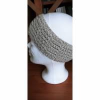 Stirnband für Damen, in Beige, schöne weiche Wolle, modisch, gestrickt Bild 1
