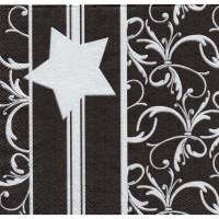 5 Servietten / Motivservietten  Sterne  / Schnörkel  Silber - schwarz  W 357 Bild 1