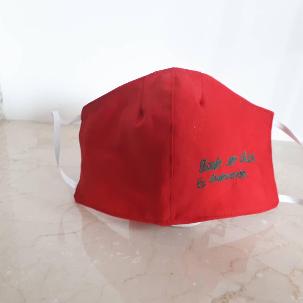 Mund-Nasenbedeckung zweilagig in Wunschfarbe mit Wunschtext Bild 1