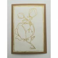 Glückwunschkarte Grußkarte Magnolia in Gold. Kunstkarte Original Bild 1