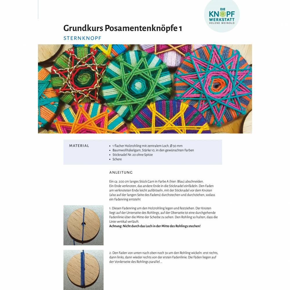 Anleitung für den Sternknopf (Grundkurs Posamentenknöpfe 1) Bild 1