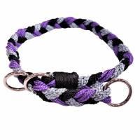 """Hundehalsband """"Amelie""""~geflochten schwarz-lila-grau Bild 1"""
