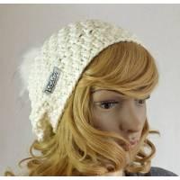 Mütze Beanie mit Kunst-Fell-Bommel weiß Strickmütze Bild 1