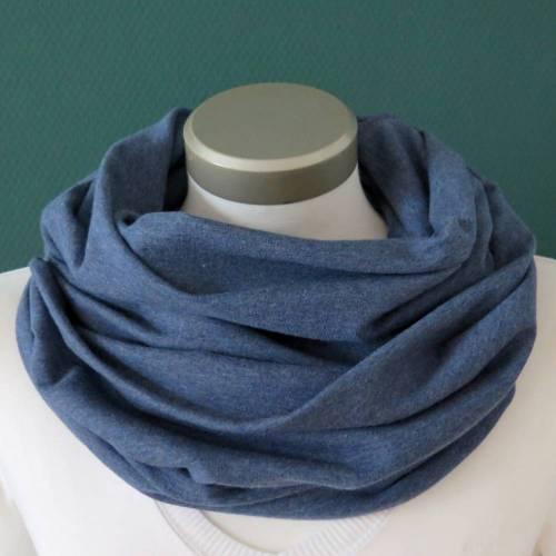 Loop Sweat blau meliert Baumwolle Herren kuscheliger Schal unisex Schlauchschal