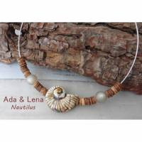 Halskette Nautilus Spirale Keramikperle Halsreif versilbert Schnecke Handmade Geschenk Kokosperlen Polarisperlen Damen