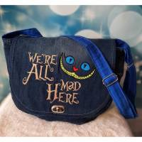 "Upcycling Handtasche Umhängetasche ""We're all mad here"" Bild 1"